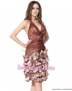 Multi Color Halter Top Dama Dresses with Ruching and Hand Made Flowers