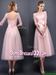 2016 Most Popular Scoop Half Sleeves Baby Pink Dama Dress with Bowknot