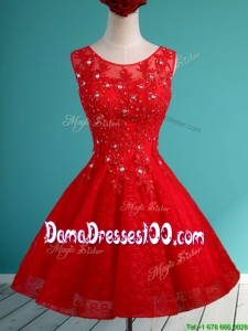 2016 Popular Scoop Red Short Dama Dress with Beading and Appliques