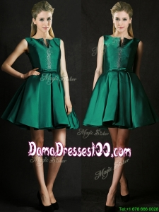 2016 Classical A Line Green Short Dama Dress with Beading and Belt