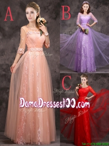 2016 Exclusive See Through Scoop Applique and Laced Dama Dress with Half Sleeves