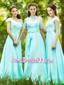 Lovely Chiffon Empire Long Dama Dress in Apple Green