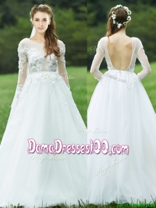 Pretty Applique White Backless Dama Dress with Long Sleeves