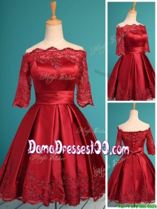 Romantic Off the Shoulder Half Sleeves Dama Dress with Lace and Belt