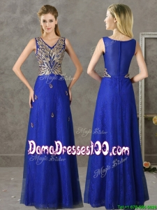 Gorgeous V Neck Appliques and Beading Dama Dress in Royal Blue