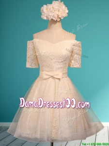 Pretty Off the Shoulder Short Sleeves Champagne Dama Dress with Bowknot