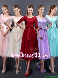 Wonderful See Through Scoop Half Sleeves Dama Dress with Bowknot