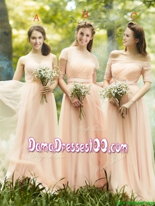 Beautiful Floor Length Tulle Dama Dress in Peach
