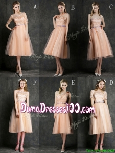 Best Selling Sashed Peach Dama Dress in Knee Length