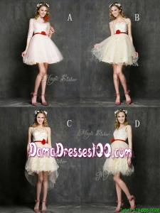 Most Popular Champagne Mini Length Dama Dress with Belt