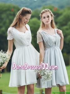 New Short Sleeves Dama Dress with Belt and Lace