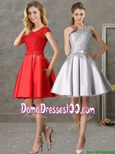 Popular Scoop Cap Sleeves Dama Dress with Bowknot and Lace