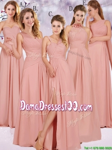 Best Selling Chiffon Peach Long Dama Dress with Ruching