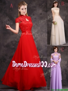 Discount High Neck Applique and Laced Dama Dress with Cap Sleeves