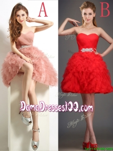 Lovely Beaded and Ruffled Puffy Skirt Dama Dress in Tulle