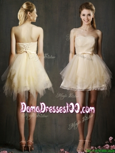 Lovely Sweetheart Short Champagne Dama Dress with Belt and Ruffles