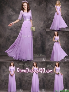 Perfect Applique and Laced Lavender Long Dama Dress in Chiffon