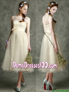 See Through Scoop Champagne Dama Dress with Hand Made Flowers and Appliques