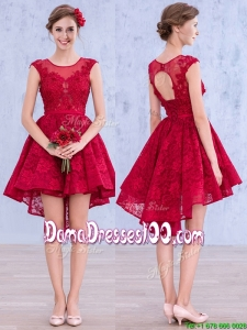 See Through Scoop High Low Wine Red Dama Dress with Lace