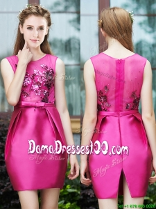Luxurious Column Scoop Applique Hot Pink Dama Dress in Satin