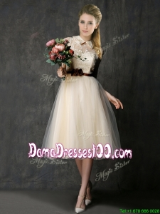 Luxurious High Neck Champagne Dama Dress with Hand Made Flowers and Lace