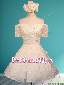 Beautiful White Off the Shoulder Short Sleeves Dama Dress with Appliques and Beading
