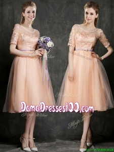 New Scoop Half Sleeves Dama Dress with Sashes and Lace