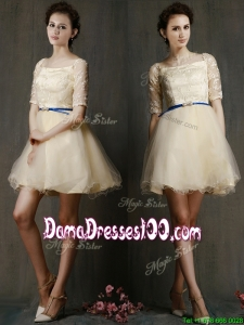 Romantic Square Half Sleeves Dama Dress with Sashes and Lace