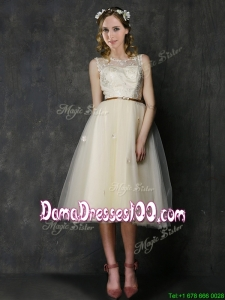 Popular Scoop Champagne Dama Dress with Sashes and Lace