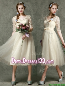 Romantic V Neck Half Sleeves Dama Dress with Lace and Belt