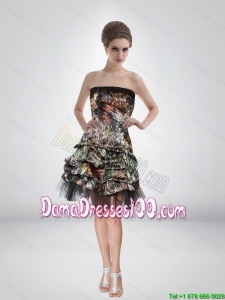 Artistic 2015 Short Strapless Camo Dama Dresses for Quinceanera