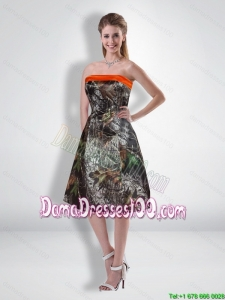 Popular Short Strapless Knee Length Camo Dama Dresses for Quinceanera