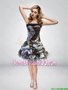 2015 Most Popular Short Knee-length Camo Dama Dresses with Strapless