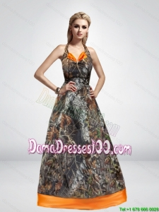 2015 Spring Most Popular A Line Halter Top Camo Dama Dresses