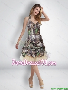 Most Popular 2015 Short Halter Top Camo Dama Dresses with Knee Length