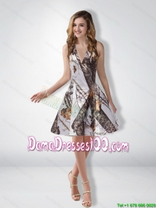Most Popular A Line Halter Camo Dama Dresses with Ruching