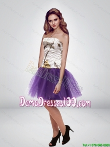 Most Popular Mini Length Strapless Camo Dama Dresses in Multi Color