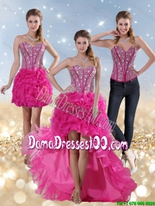 2015 Beautiful Hot Pink High Low Sweetheart Dama Dresses with Beading and Ruffled Layers