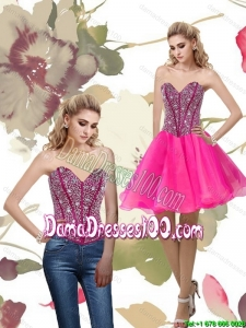 2015 Cheap A Line Hot Pink Group Buying Dama Dresses with Beading