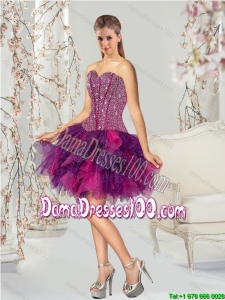 2015 Detachable Multi-color Group Buying Dama Dresses with Beading and Ruffles