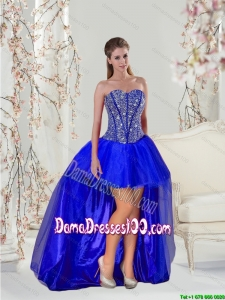 2015 Fall New Style Royal Blue Dama Dresses For Quinceanera with Beading