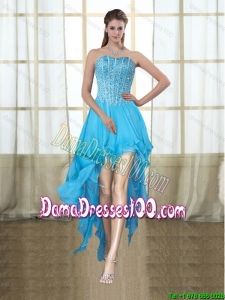 2015 Fashionable Sweetheart High Low Baby Blue Group Buying Dama Dresses with Beading
