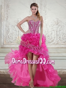 2015 Hot Pink High Low Sweetheart Group Buying Dama Dresses with Beading and Ruffled Layers