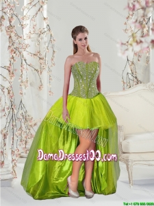 2015 Inexpensive Yellow Green Group Buying Dama Dresses with Beading