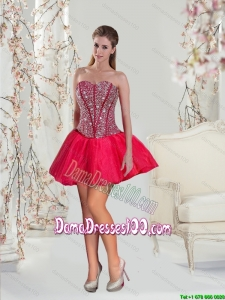 2015 Junior Mini Length Red Dama Dresses with Beading