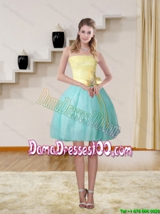 2015 Junior Strapless Multi Color Dama Dresses with Bowknot
