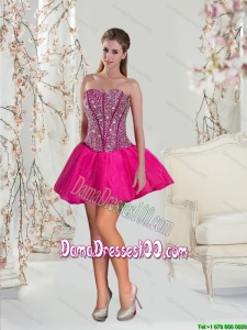 2015 Luxurious Beading Hot Pink Group Buying Dama Dresses
