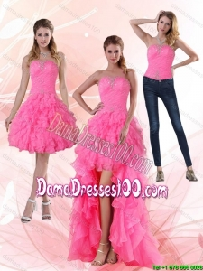 2015 Most Popular Strapless Group Buying Dama Dresses with Beading and Ruffled Layers