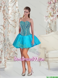2015 New Style Beading Group Buying Dama Dresses in Aqua Blue