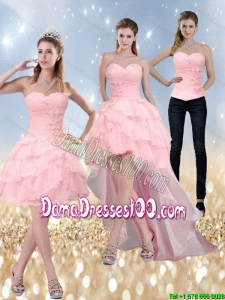 2015 New Style Sweetheart Baby Pink Group Buying Dama Dresses with Ruffled Layers and Beading